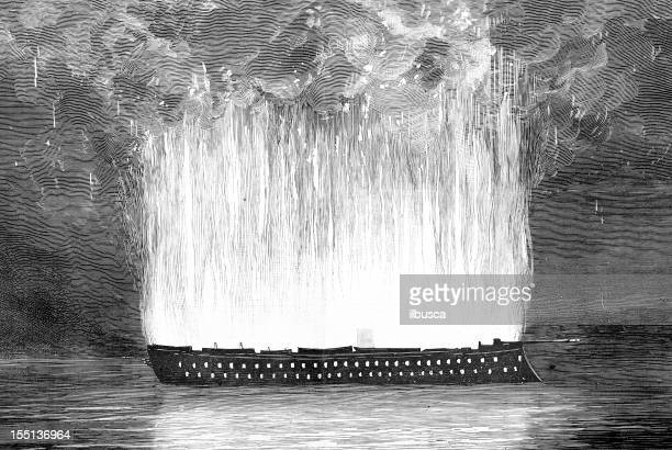 """fire accident on """"magenta"""" ship - nature magazine stock illustrations"""