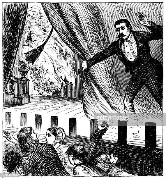 fire breaking out in a victorian theatre - theater industry stock illustrations, clip art, cartoons, & icons