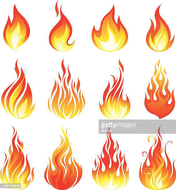fire collection - fire natural phenomenon stock illustrations, clip art, cartoons, & icons