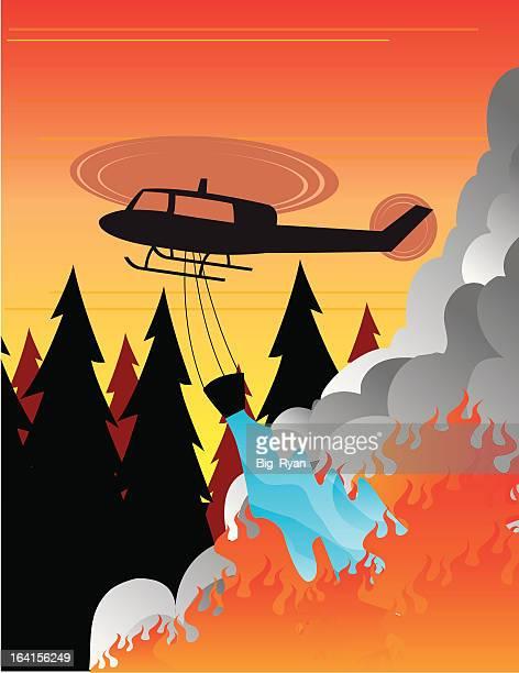 ilustraciones, imágenes clip art, dibujos animados e iconos de stock de lucha contra incendios - incendio forestal