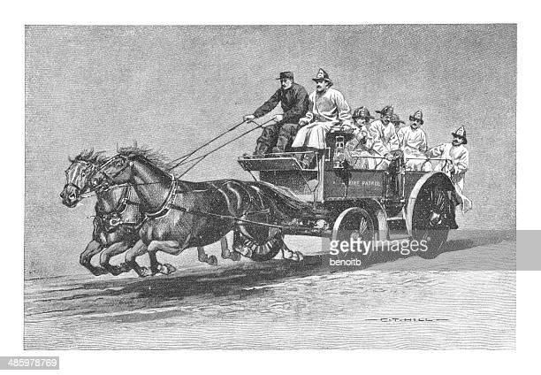 fire patrol - horse cart stock illustrations, clip art, cartoons, & icons