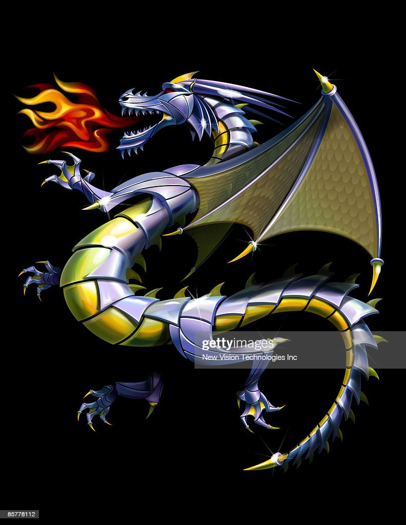 Fire-breathing dragon : stock illustration