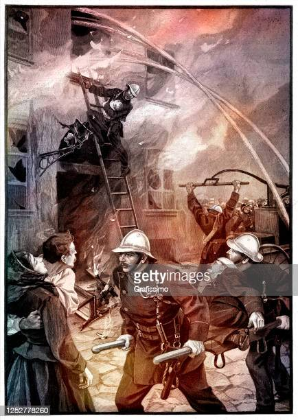 firefighter attacking fire in city of durlach germany 1896 - 1900 stock illustrations