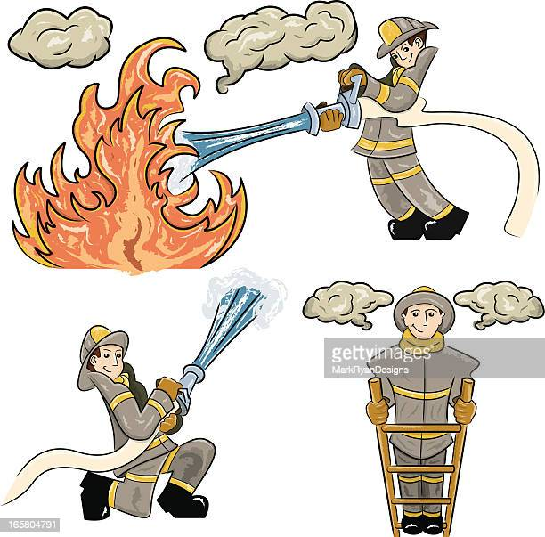 firefighter characters - backdraft stock illustrations, clip art, cartoons, & icons