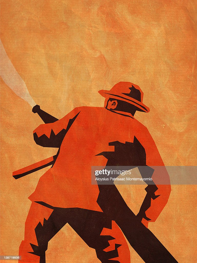 A fireman aiming a hose : stock illustration