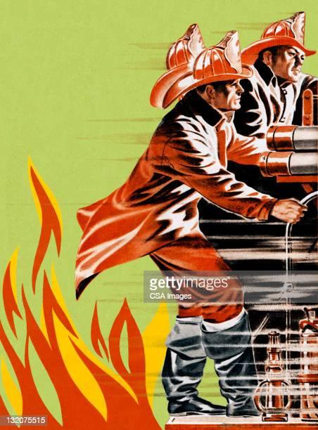 fireman on firetruck - fire engine stock illustrations, clip art, cartoons, & icons