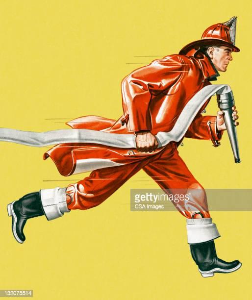 ilustrações de stock, clip art, desenhos animados e ícones de fireman correr com a mangueira - corpo de bombeiros