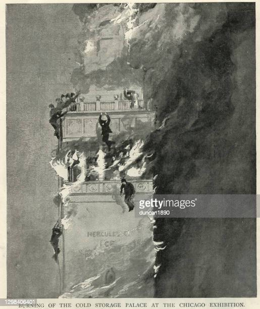 firemen trapped on burning cold storage palace, chicago exhibition on july 11, 1893 - fire natural phenomenon stock illustrations