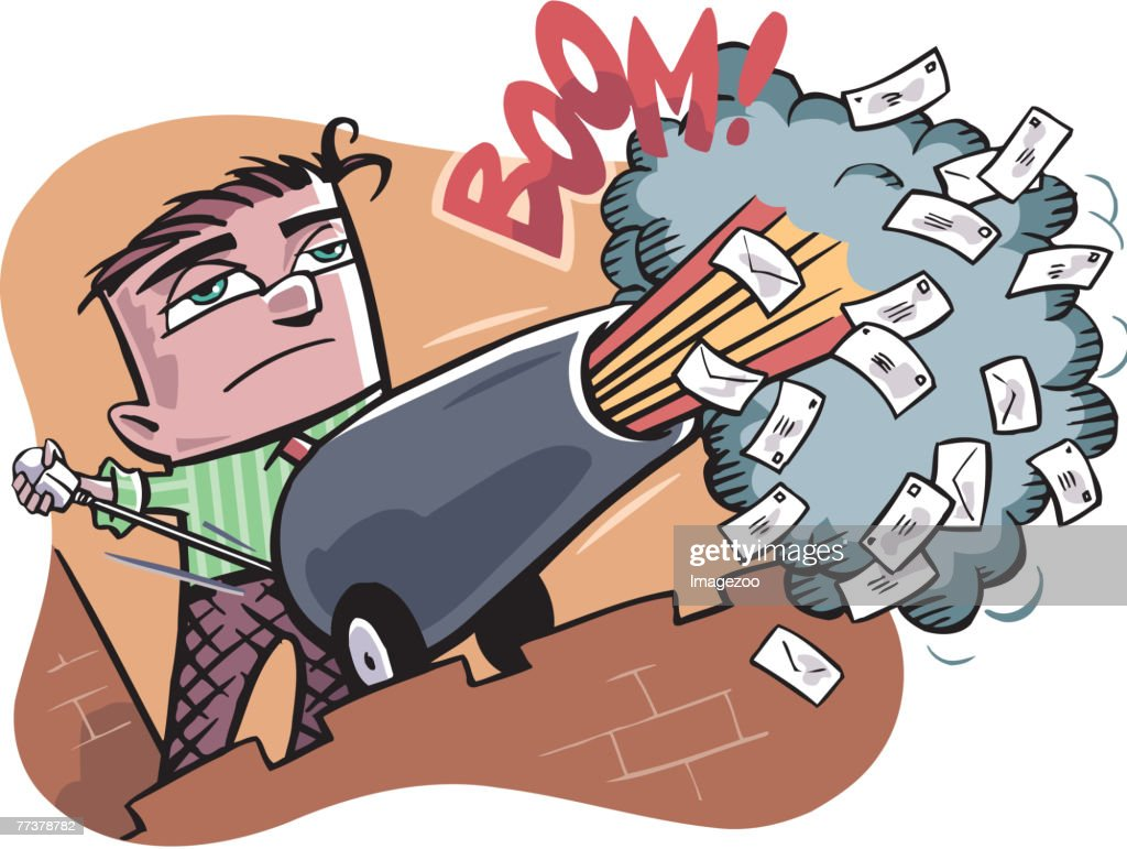 firing emails through a cannon : stock illustration