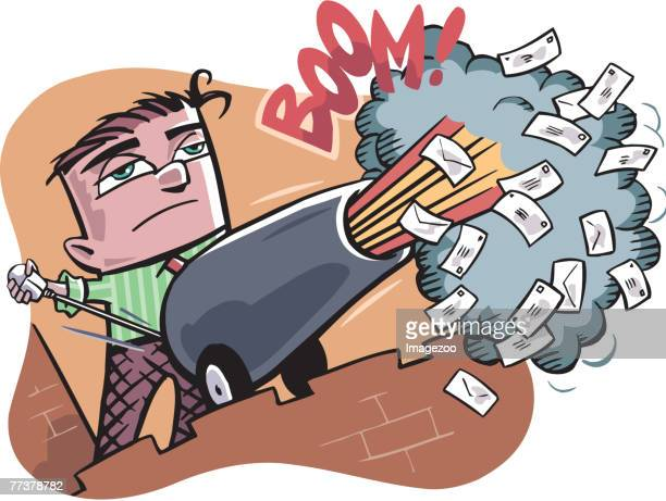 firing emails through a cannon - online advertising stock illustrations, clip art, cartoons, & icons