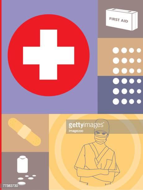 ilustrações, clipart, desenhos animados e ícones de first aid - símbolo médico