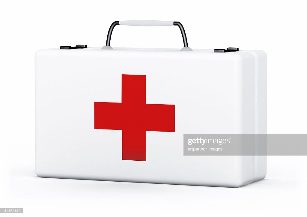 first aid pack on white background : stock illustration