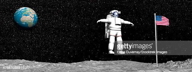 First astronaut on the moon floating next to American flag with Earth in the background.