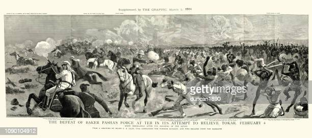 first battle of el teb, defeat of baker pasha's army - mass murder stock illustrations