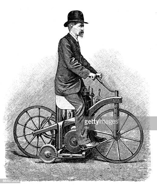 first bike on the road with an engine of daimler - archival stock illustrations, clip art, cartoons, & icons