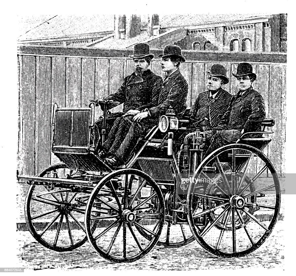 First Car On The Road With An Engine Of Daimler Stock Ilration