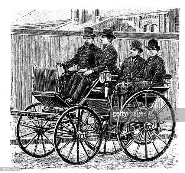 erstes auto auf der straße mit einem motor von daimler - erfindung stock-grafiken, -clipart, -cartoons und -symbole