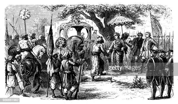 First Carnatic War (1746–1748) ,The Mughal Subedar of the Deccan Muzaffar Jang welcomes Joseph François Dupleix.
