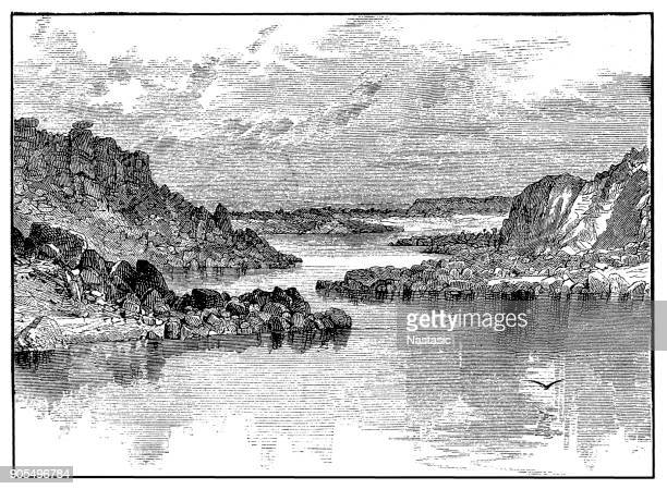 first cataract ,waterfall of the nile - uganda stock illustrations, clip art, cartoons, & icons