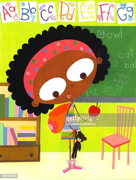 first day of school - the alphabet stock illustrations