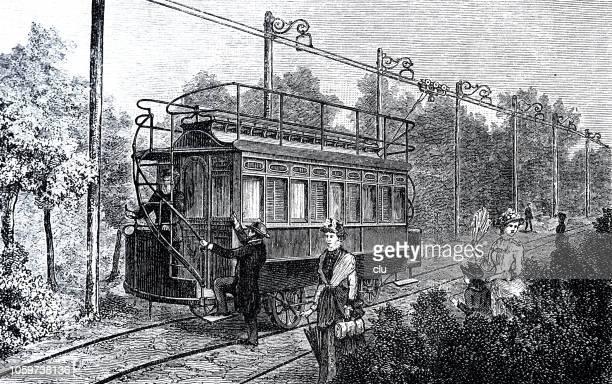 stockillustraties, clipart, cartoons en iconen met eerste elektrische spoorweg met de bovenleiding in berlijn, siemens & halske - first occurrence