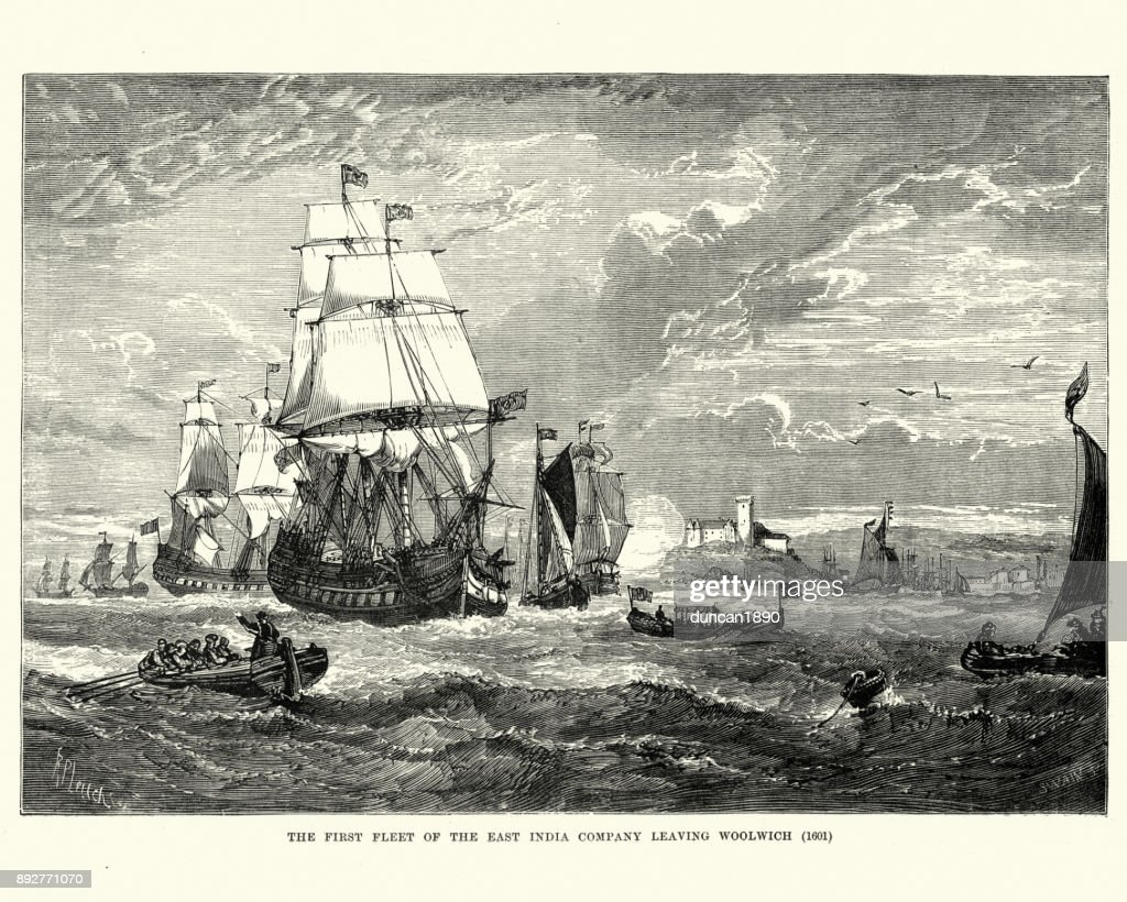 First fleet of the East India Company leaving Woolwich, 1601 : stock illustration