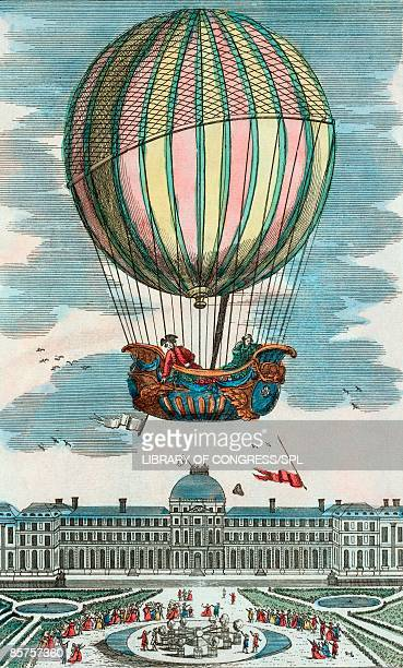 first manned hydrogen balloon flight - history stock illustrations