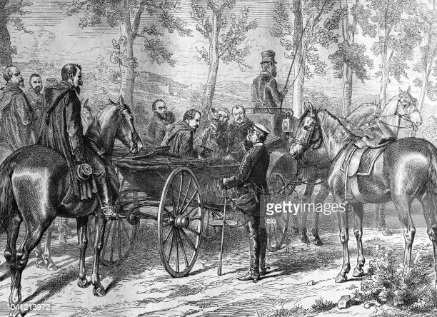 erste treffen zwischen otto von bismarck und napoleon iii in der nähe von sedan - first occurrence stock-grafiken, -clipart, -cartoons und -symbole