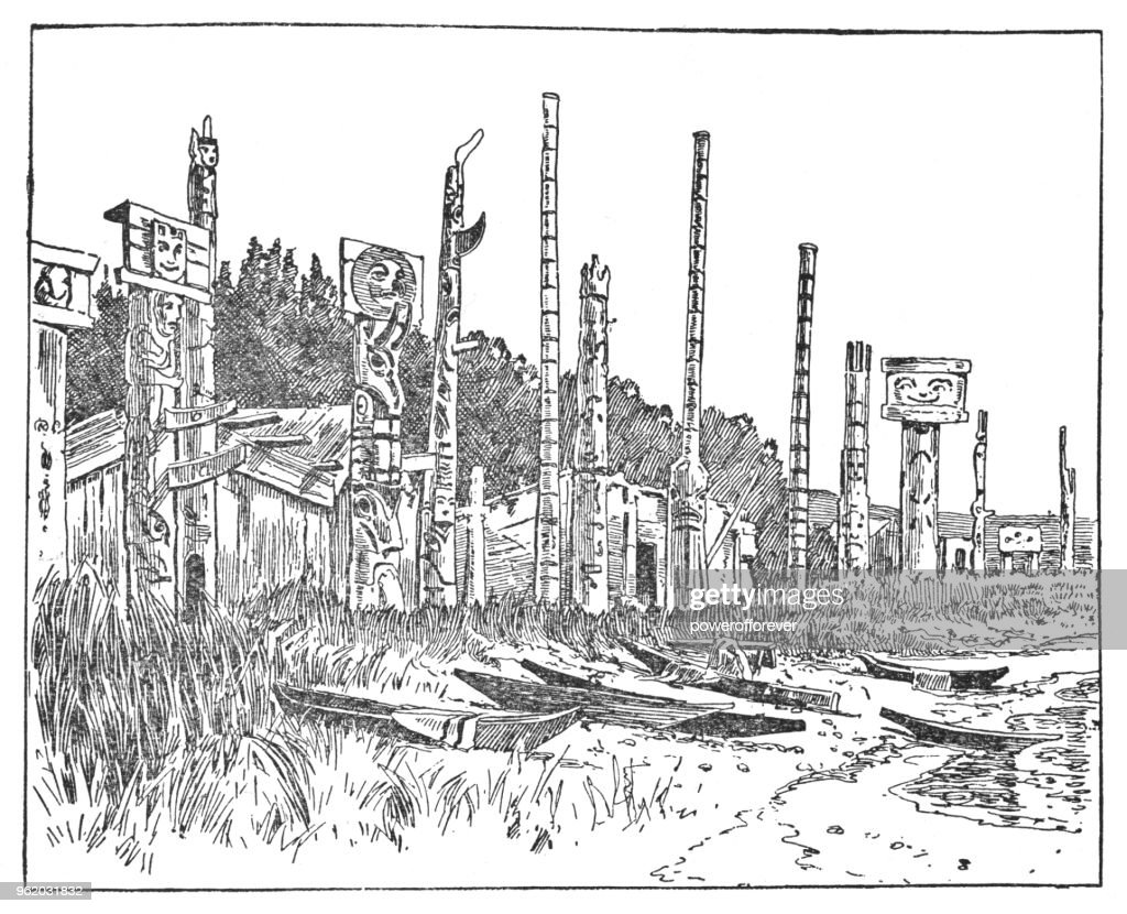 First Nations Village with Totem Poles in British Columbia, Canada - 19th Century : Stock Illustration