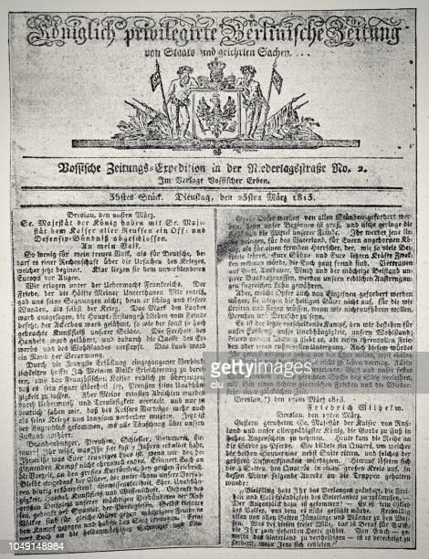 First page of german newspaper Königliche privilegierte Berlinische Zeitung, March 1813