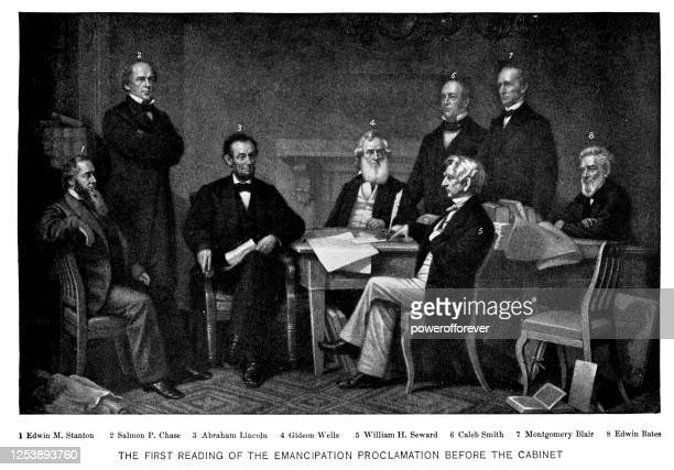 first reading of the emancipation proclamation of president lincoln by francis bicknell carpenter - 19th century - us president stock illustrations