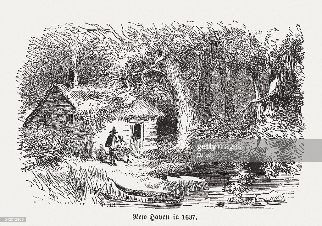 First settelers in New Haven, Connecticut, wood engraving, published 1884 : stock illustration