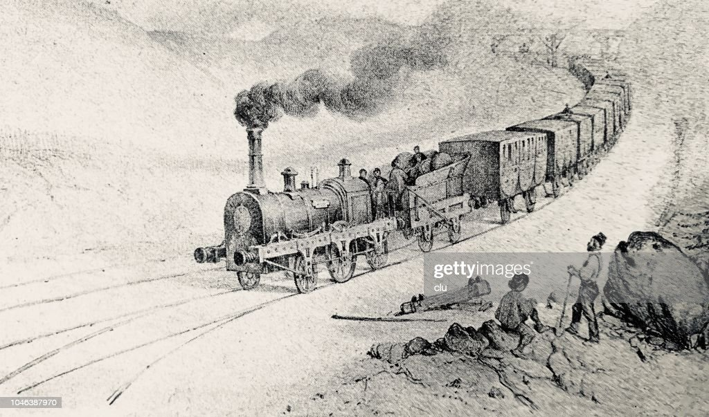 First train from Paris to Orleans in 1828 : stock illustration