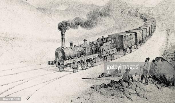 erste zug von paris nach orleans im jahre 1828 - first occurrence stock-grafiken, -clipart, -cartoons und -symbole