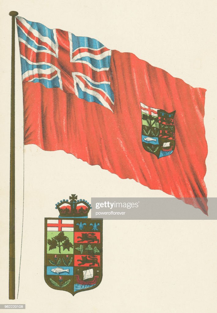 First Version of the Canadian Flag and Arms of Canada - 19th Century : Stock Illustration