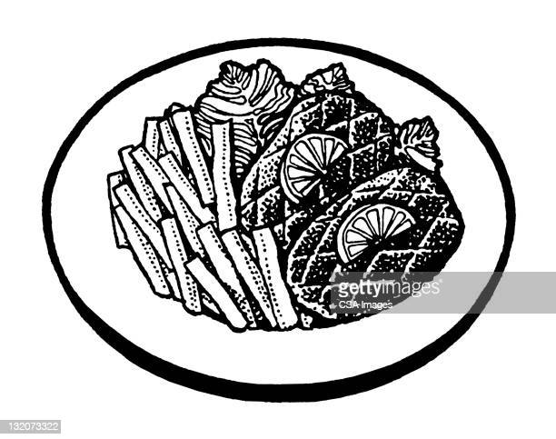fish and french fries - steak plate stock illustrations, clip art, cartoons, & icons