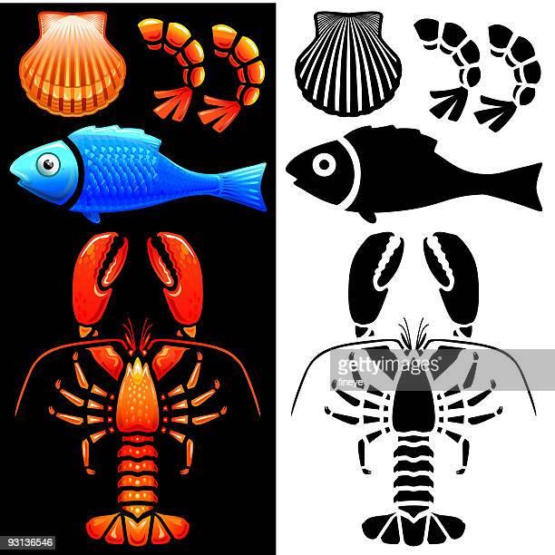 Fish and Shellfish icon set
