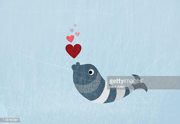 stockillustraties, clipart, cartoons en iconen met a fish blowing love heart bubbles - fish love