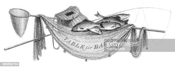 Fish net hooks engraving 1812