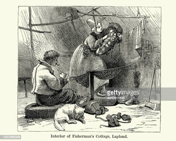 fisherman and his family, lapland, 19th century - baby blanket stock illustrations, clip art, cartoons, & icons