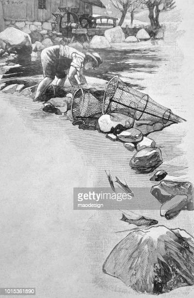 Fisherman is preparing the nets to fish - 1895