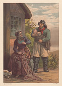 fishermans family 19th century view lithograph