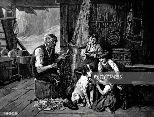 fisherman's family scene - 1887 stock illustrations, clip art, cartoons, & icons