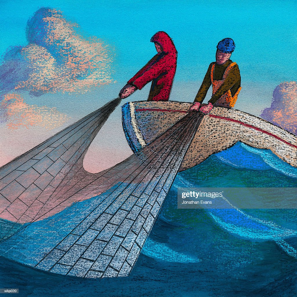 Fishermen in Boat : Stock Illustration