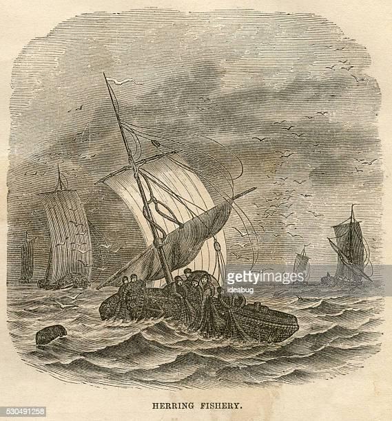 Fishermen Net Fishing on Boat, Antique 1871 Illustration