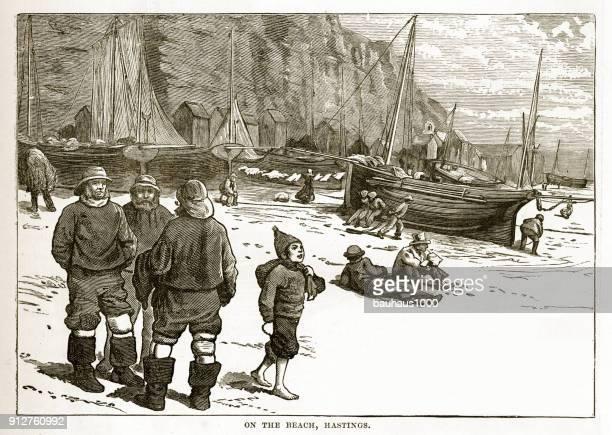 漁師のビーチヘイスティングズ、ビクトリア朝のイギリスの彫りこみ文字 - イーストサセックス点のイラスト素材/クリップアート素材/マンガ素材/アイコン素材