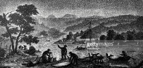 ilustrações, clipart, desenhos animados e ícones de trabalho dos pescadores no lago - 1887