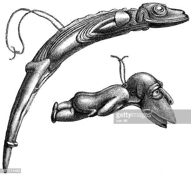 fish-head idols - easter island stock illustrations, clip art, cartoons, & icons