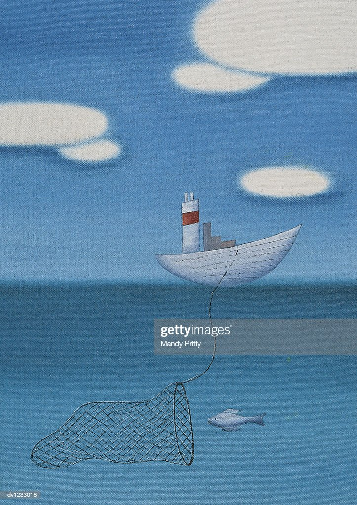 Fishing Boat Capturing a Fish Underwater : Stock Illustration
