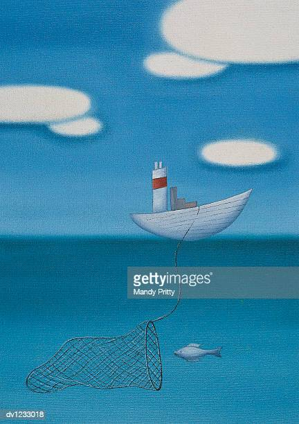 fishing boat capturing a fish underwater - mandy pritty stock illustrations